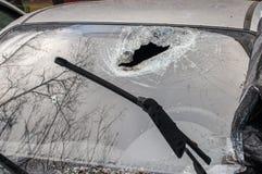 Отверстие в лобовом стекле автомобиля Стоковая Фотография