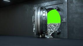 Отверстие двери свода в банке с много деньгами на зеленой предпосылке бесплатная иллюстрация