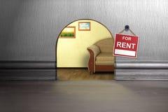 Отверстие мыши в стене с знаком Концепция аренды жилья Стоковое Изображение