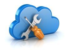 Отвертка и ключ с облаком