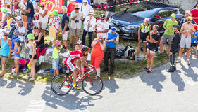 Ответная часть Mardones Луис Анджела велосипедиста на Col du Glandon - путешествуйте de Стоковые Изображения RF