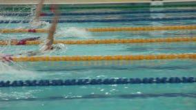 Отделка женщин плавания на спине отслеживая съемку сток-видео