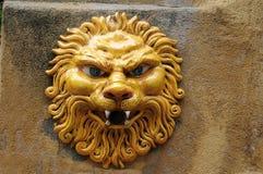 Отделка стен, голова ` s льва сделанная керамики Стоковые Изображения