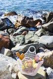 Отдохните морем с виноградинами, яблоками, грушами, багетами, вином и корзиной на покрывале Стоковая Фотография