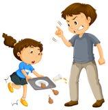 Отец жалуется ребенок иллюстрация вектора