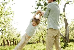 Отец играя с сыном в саде стоковое изображение