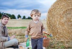 Отец и красивейший мальчик малыша делая лето picnic Стоковое Изображение RF
