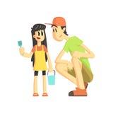 Отец и дочь в ящике с песком Стоковые Изображения RF