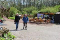 Отец и дочь посещают кафе на открытом воздухе, Eemnes, Нидерланды Стоковые Изображения