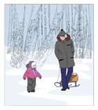 Отец и сынок на прогулке в park Стоковые Фотографии RF