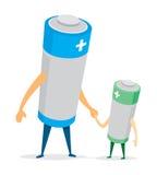 Отец и сын батареи держа руки иллюстрация вектора