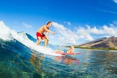 Отец и сын занимаясь серфингом, ехать волна совместно Стоковая Фотография