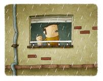 Отец и сын, идя дождь день бесплатная иллюстрация