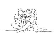 Отец концепции семьи, мать и сидеть детей бесплатная иллюстрация