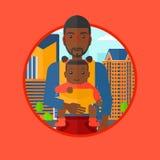Отец нося его дочь в слинге Стоковые Изображения RF