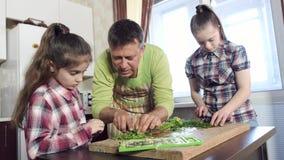 Отец показывает внимательных дочерей режа зеленые цвета на борту видеоматериал