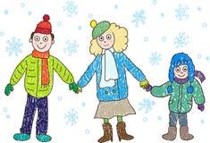 отец семьи чертежа ягнится зима мати Стоковая Фотография