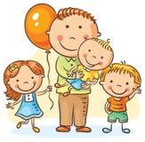 Отец с детьми дерева иллюстрация вектора
