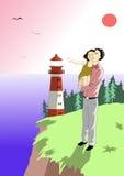 Отец с ребенком и маяком Стоковая Фотография RF