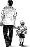 Отец с сыном иллюстрация штока