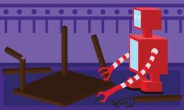 Отечественный робот ремонтируя деревянный стол бесплатная иллюстрация