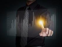 Отжимать руки бизнесмена диаграмма Стоковые Изображения