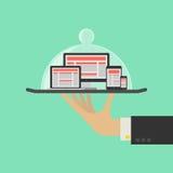 Отзывчивая концепция обслуживания веб-дизайна Стоковые Фотографии RF