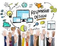 Отзывчивая концепция поддержки волонтера рук сети интернета дизайна Стоковые Изображения