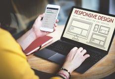 Отзывчивая концепция шаблона Веб-страницы плана дизайна Стоковое Изображение
