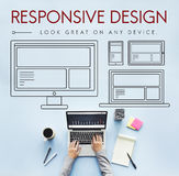 Отзывчивая концепция шаблона Веб-страницы плана дизайна Стоковая Фотография RF