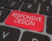 Отзывчивое развитие вебсайта клавиатуры компьютера дизайна красное ключевое иллюстрация штока