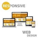 Отзывчивый веб-дизайн на различном приборе Стоковые Фото