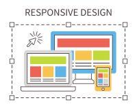 Отзывчивый веб-дизайн, плоский вектор Стоковые Изображения