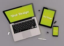 Отзывчивый взгляд зенита веб-дизайна Стоковые Изображения RF