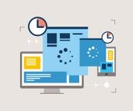 Отзывчивый дизайн, оптимизирование вебсайта Стоковые Изображения