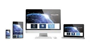 отзывчивыми изолированная приборами домашняя страница дизайна иллюстрация вектора