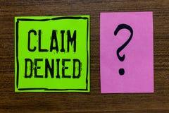 Отказанная заявка текста почерка Смысл концепции спросил оплату возмещения для счета отказанное примечание Importan зеленой книги стоковое фото