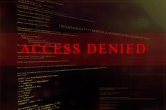 ` ` Отказанное доступом на экране компьютерной системы иллюстрация штока