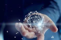 Отказ дела показанный соединением глобальной вычислительной сети в руке стоковая фотография rf