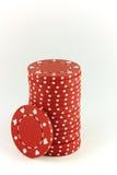 откалывает красный цвет покера Стоковое фото RF