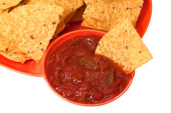 откалывает tortilla сальса Стоковое Фото