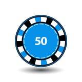 Откалывает синь 50 для покера значок на предпосылке изолированной белизной Иллюстрация EPS 10 Использовать вебсайты, дизайн, pr Стоковая Фотография RF