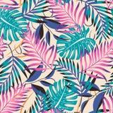 Отклоняя абстрактная картина с тропическими листьями и цветками на чувствительной пастельной предпосылке o Печать джунглей Флорис стоковые изображения