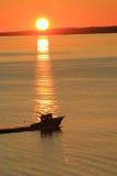 отключение восхода солнца рыболовства Стоковая Фотография