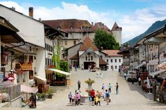 Отключение Швейцарии ориентир ориентира деревни Стоковое Фото