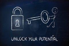 Откройте ваши потенциальные, смешные характер с ключом и замок стоковая фотография rf