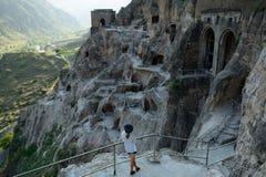 Откройте городок пещеры Vardzia в Грузии стоковое изображение