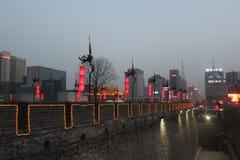 Открывать Китай: Стена древнего города Xian Стоковая Фотография RF