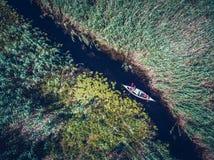 Открывать перепад Дуная в виде с воздуха каное стоковое изображение rf