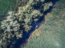 Открывать перепад Дуная в виде с воздуха каное стоковая фотография